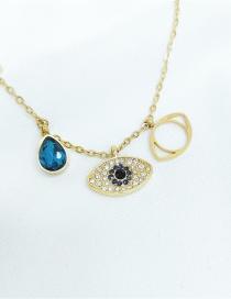 Fashion Blue Devils Eye Golden Snake Bone Necklace