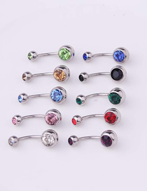 Fashion Red Piercing Stainless Steel Body Belly Nail Abdomen Double Drill Belly Button Nail Umbilical Ring