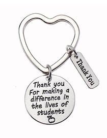 Fashion Style Three Thank You Stainless Steel Letter Keychain Thank You Teachers