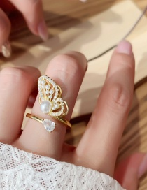 Fashion Gold Color Butterfly Pearl Ring