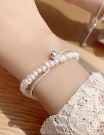 Fashion B Silver Color Double Layer Freshwater Pearl Bracelet