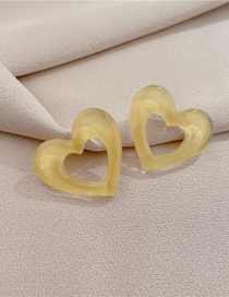 Fashion Yellow Contrasting Color Love Heart Stud Earrings