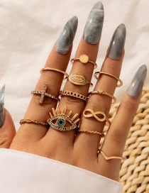 Fashion Gold Color Suit Cross Eye Love Ring Set