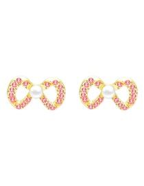 Fashion Orange Butterfly Combined With Gold Rhinestone Stud Earrings