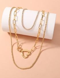 Fashion Gold Color Heart-shaped Spring Clasp Multi-layer Plaid Twist Chain Necklace