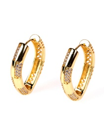 Fashion Gold Color Copper Plated Real Gold Earrings With Zircon