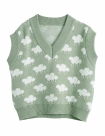 Fashion Green Jacquard Knitted Vest