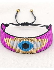 Fashion Rose Red Devil's Eye Beaded Woven Bracelet