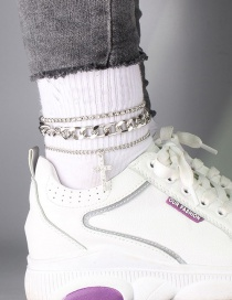 Fashion Silver Color Alloy Diamond Cross Anklet