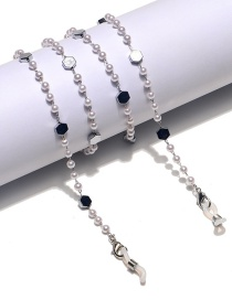 Fashion Silver Color Hexagonal Pearl Stainless Steel Chain Glasses Chain