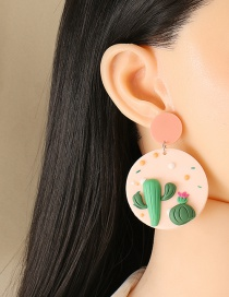Fashion Cactus Geometric Round Cactus Earrings