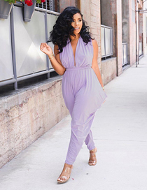 Fashion Purple Solid Color Deep V-neck Sleeveless Lace-up Jumpsuit