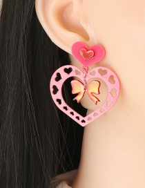 Fashion Red Acrylic Love Butterfly Stud Earrings