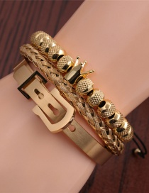 Fashion Gold Color S Titanium Steel Twist Crown Braided Bracelet Set