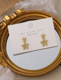 Fashion Gold Color Micro-set Zircon Small Flower Earrings