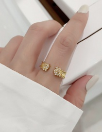 Fashion Gold Color Star Zirconium Diamond Gold Plated Wide Edge Open Ring