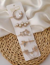 Juego De Cinco Piezas De Horquilla De Diamantes De Imitación De Perlas De Seis Puntas