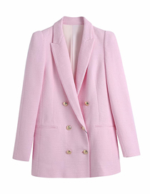 Fashion Pink Double-breasted Textured Blazer