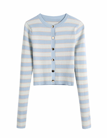 Fashion Blue Striped Knit Single-breasted Sweater