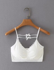 Fashion White Lace-trimmed Bow Suspender Top
