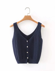 Fashion Navy Blue Buttoned Sling Top