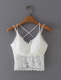Fashion White Lace Beautiful Back Suspender Top
