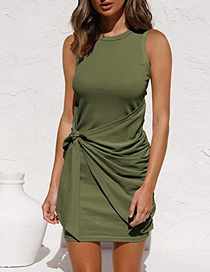 Fashion Armygreen Solid Color Sleeveless Pleated Bow Dress