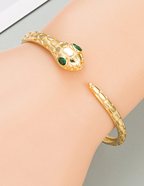 Fashion Gold Color Snake-shaped Copper Micro-inlaid Zircon Bracelet