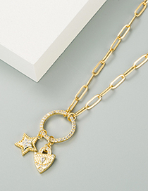 Fashion Gold Color Five-pointed Star Love Copper Micro-inlaid Zircon Necklace