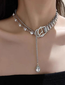 Fashion Silver Thick Chain Stitching Diamond Chain Necklace