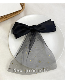 Fashion Black Lace Star Bow Hairpin Streamer