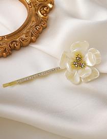 Flor Peque?a Con Horquilla De Flor De Concha De Diamante