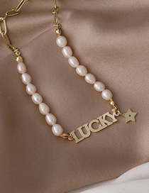 Fashion White Pearl Pentagram Letter Lucky Freshwater Pearl Necklace