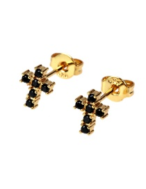 Fashion Black Micro-set Zircon Cross Earrings