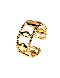 Fashion Golden Copper Plated Real Gold Round Bead Open Diamond Ring