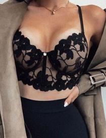 Fashion Black Lace Three-point Wrap Bra