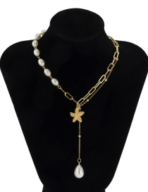 Fashion Gold Color Metal Starfish Alloy Pearl Necklace