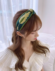 Fashion Vintage Green Embroidered Feather Twisted Headband