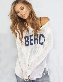Fashion White Knitted Long-sleeved Blouse