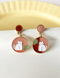 Fashion Pair Of Ear Studs Round Oil Drop Kitty Earrings
