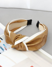 Fashion Coffee Color Leather Knotted Headband Contrasting Leather Knotted Headband