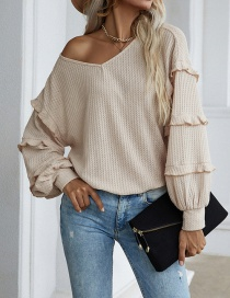 Fashion Apricot Solid Color Petal Sleeve Waffle Top