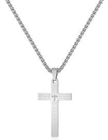 Fashion Steel Color Titanium Steel Sanskrit Cross Necklace