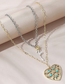 Fashion Color Mixing Flower Hit Color Love Alloy Double Necklace