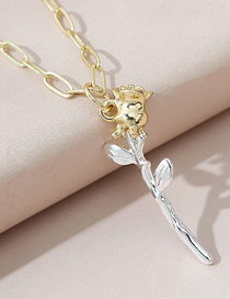 Fashion Color Mixing Rose Flower Mixed Color Alloy Contrast Necklace