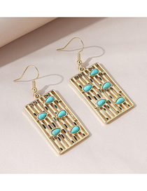 Fashion Gold Color Turquoise Geometric Alloy Earrings