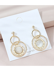 Fashion Golden Real Gold Plated Roman Alphabet Geometric Round Earrings