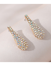 Fashion Gold Color Diamond Drop-shaped Alloy Earrings
