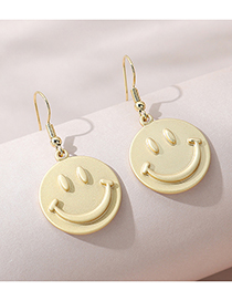 Fashion Gold Color Smiley Doll Matte Gold Round Earrings