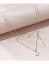 Fashion Golden Moon Star Double Necklace